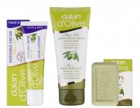Dalan d'Olive - OLIVE OIL - Świąteczny zestaw kosmetyków oliwkowych (mini mydełko oraz 2 kremy do rąk i ciała)