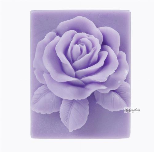 LaQ - Happy Soaps - Naturalne mydełko glicerynowe - FIOLETOWA RÓŻA W PROSTOKĄCIE