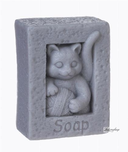 LaQ - Happy Soaps - Naturalne mydełko glicerynowe - SZARY KOT Z KŁĘBKIEM WEŁNY