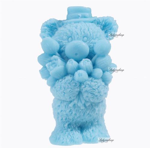 LaQ - Happy Soaps - Naturalne mydełko glicerynowe - NIEBIESKI MIŚ Z BUKIETEM