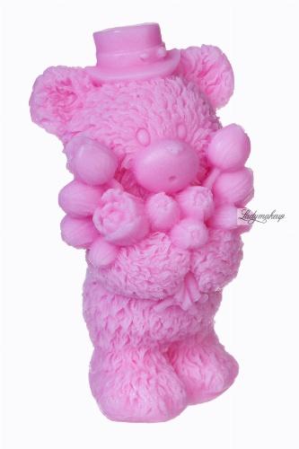 LaQ - Happy Soaps - Naturalne mydełko glicerynowe - RÓŻOWY MIŚ Z BUKIETEM