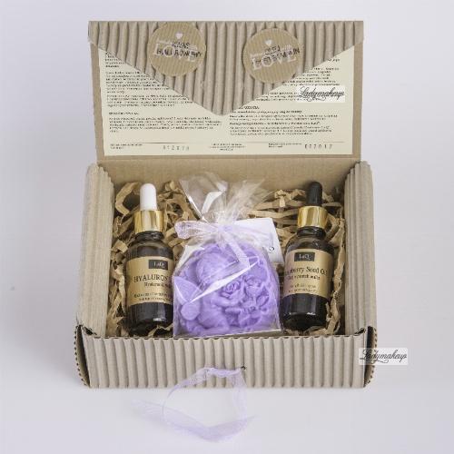 LaQ - Zestaw naturalnych kosmetyków - Kwas hialuronowy, Olej z pestek malin + mydełko glicerynowe gratis!