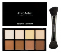 FREEDOM - HD HIGHLIGHTER AND CONTOUR SET WITH DOUBLE ENDED BRUSH - Professional Sculpting, Contouring and Highlighting - Zestaw 8 rozświetlaczy i bronzerów + pędzel do makijażu