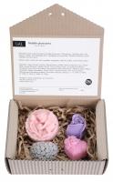 LaQ - Zestaw 4 naturalnych mydełek glicerynowych - SERCE W RÓŻYCZKI, ANIOŁ Z RÓŻAMI W MEDALIONIE, KWIAT RÓŻY, SERDUSZKO ''I LOVE U''