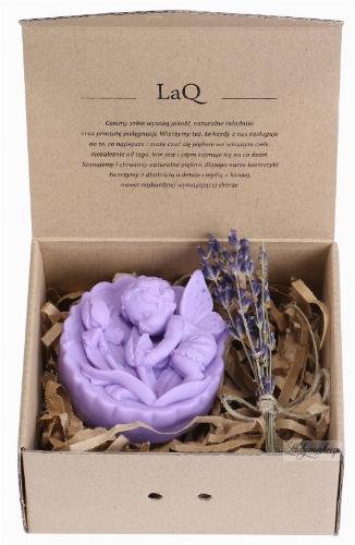 LaQ - Happy Soaps - Naturalne mydełko glicerynowe - FIOLETOWY ANIOŁ Z RÓŻAMI