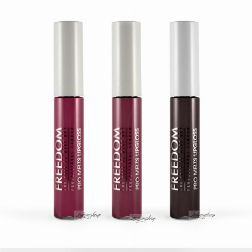 FREEDOM - PRO MELTS - VAMP - Collection Long Lasting & Intense Colour - Zestaw 3 błyszczyków do ust