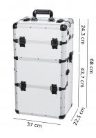 Biały kufer kosmetyczny - White strip - TC009