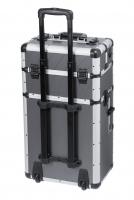 Szary kufer kosmetyczny - Grey Strip - TC009