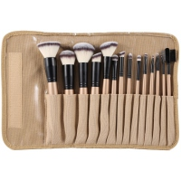 LancrOne - SUNSHADE MINERALS - Set of 14 make-up brushes + natural flax case