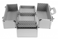 Srebrny kufer kosmetyczny - Silver Strip - MC145