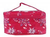 Inter-Vion - COSMETIC BAG - Różowa kosmetyczka/kuferek w kwiaty - 499385B