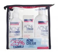 NovaClear - ACNE CLEANSER, TONER, CREAM - Zestaw kosmetyków do cery tłustej i trądzikówej
