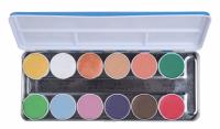 KRYOLAN - AQUACOLOR - INTERFERENZ - Interferencyjna paleta 12 farb wodnych do malowania twarzy i ciała - ART. 1144