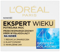 L'Oréal - EKSPERT WIEKU - Potrójna moc - Przeciwzmarszczkowy krem wygładzający na dzień 40+