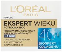 L'Oréal -  EKSPERT WIEKU - Potrójna moc - Przeciwzmarszczkowy krem wygładzający na noc 40+