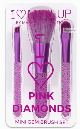 I Heart Revolution- I ♡ Pink Diamonds - MINI GEM BRUSH SET - Zestaw 3 pędzli do makijażu
