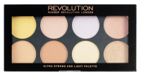 MAKEUP REVOLUTION - ULTRA STROBE AND LIGHT PALETTE - Paleta 8 rozświetlaczy