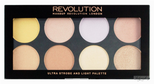 MAKEUP REVOLUTION - ULTRA STROBE AND LIGHT PALETTE - Paleta 8 rozświetlaczy