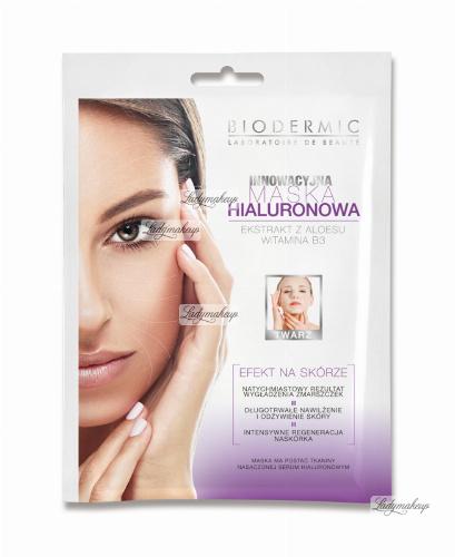 BIODERMIC - MASKA HIALURONOWA na twarz z ekstraktem z aloesu i witaminą B3
