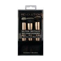 MAKEUP REVOLUTION - ULTRA METALS GO CONTOURING With free soft effect bag - 3 pędzle do konturowania + kosmetyczka