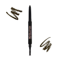 MAKEUP REVOLUTION - DUO BROW DEFINER - Kredka do brwi ze szczoteczką - DARK BROWN - DARK BROWN