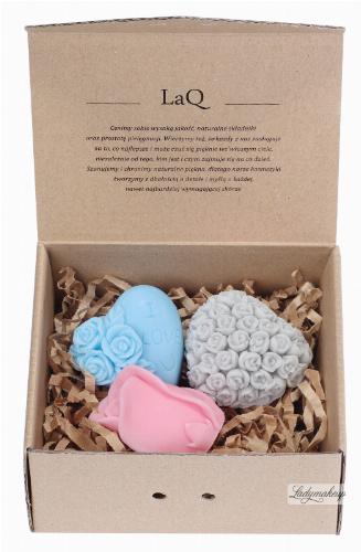 LaQ - Happy Soaps - Zestaw 3 naturalnych mydełek glicerynowych - SERCE W RÓŻYCZKI, SERDUSZKO ''I LOVE U'', KWIAT RÓŻY