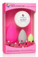 Beautyblender - all.about.face - 3 makeup sponges with sponge cleaner - Zestaw 3 gąbek do aplikacji kosmetyków + Mydełko Solid