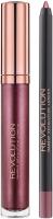 MAKEUP REVOLUTION - RETRO LUXE - METALLIC LIP KIT - Lip Pencil & Liquid Lipstick - Metaliczna konturówka i pomadka w płynie