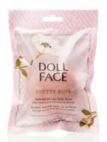 DOLL FACE - PRETTY PUFF - Natural Konjac with Rose - Gąbka oczyszczająca do mycia twarzy