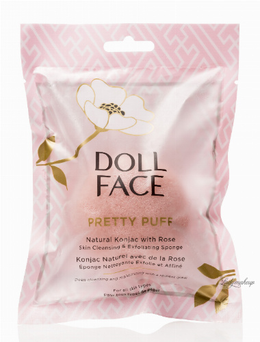 DOLL FACE - PRETTY PUFF - Natural Konjac with Rose