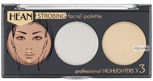 HEAN - STROBING FACIAL PALETTE - Professional Highlighters x 3 - Profesjonalna paletka 3 rozświetlaczy do twarzy i ciała
