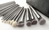 LancrOne - SUNSHADE MINERALS - Set of 25 silver make-up brushes + case