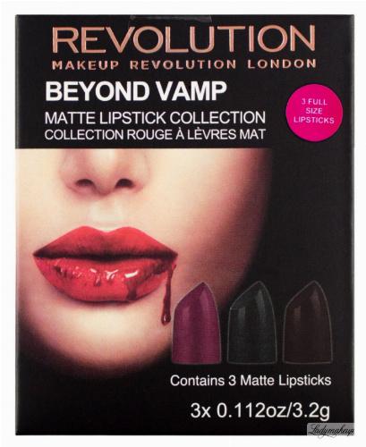 MAKEUP REVOLUTION - BEYOND VAMP -  matt lipstick collection - Komplet 3 matowych pomadek do ust