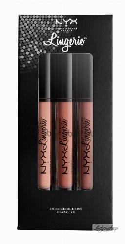 NYX Professional Makeup - LIP LINGERIE SET 03 - Zestaw 3 płynnych, matowych pomadek do ust