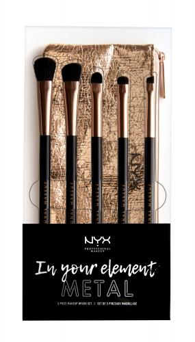 NYX Professional Makeup - MAKEUP BRUSH SET - In your element - METAL - Zestaw 5 pędzli do makijażu oczu + kosmetyczka