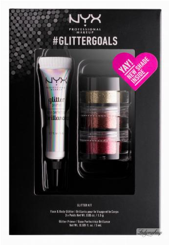 NYX Professional Makeup - #GLITTERGOALS SET 02 - Zestaw 3 brokatów + klej