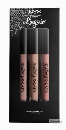 NYX Professional Makeup - LIP LINGERIE SET 04 - Zestaw 3 płynnych, matowych pomadek do ust