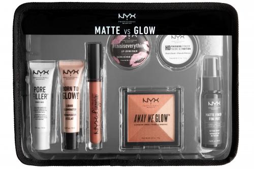 NYX Professional Makeup - MATTE VS GLOW - Zestaw kosmetyków do makijażu + kosmetyczka
