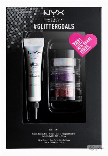NYX Professional Makeup - #GLITTERGOALS SET 03 - Zestaw 3 brokatów + klej