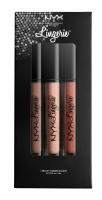 NYX Professional Makeup - LIP LINGERIE SET 01 - Zestaw 3 płynnych, matowych pomadek do ust