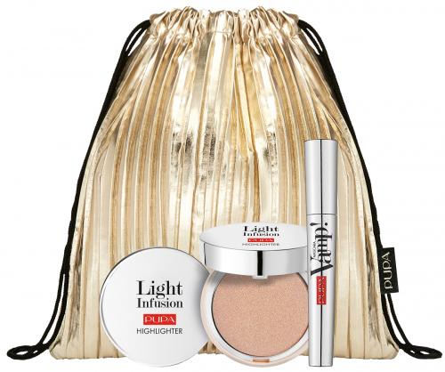 PUPA - Make-up set - Vamp! Mascara + Highlighter Light Infusion + Gold Makeup Bag