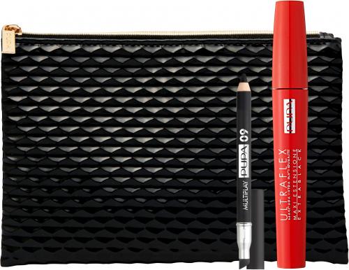 PUPA - Zestaw do makijażu oczu - Ultraflex Mascara Extra Black + Kredka Multiplay + Kosmetyczka Black