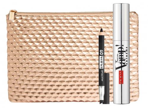 PUPA - Eye makeup kit - VAMP! Mascara EXTREME + MULTIPLAY Crayon + Rose Gold Cosmetic Bag