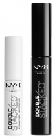 NYX Professional Makeup - Double Stacked Mascara Base & Top Coat - Nylon Lash Fibers - Zestaw maskara i preparat z włóknami fiber