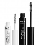 NYX Professional Makeup - Double Stacked Mascara Base & Top Coat - Nylon Lash Fibers - Zestaw maskara i preparat z włóknami fiber