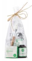 Ecocera - ZESTAW PREZENTOWY NR 8 - Maska dla cery dojrzałej (50 g) + Pędzel + Koncentrat z miedzią i srebrem koloidalnym + Sypki puder ryżowy