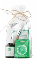 Ecocera - ZESTAW PREZENTOWY NR 3 - Maska przeciwzmarszczkowa (100 g) + Pędzel + Koncentrat z miedzią i srebrem koloidalnym + Prasowany puder ryżowy