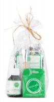 Ecocera - ZESTAW PREZENTOWY NR 1 - Maska przeciwtrądzikowa (100 g) + Pędzel + Koncentrat z miedzią i srebrem koloidalnym + Prasowany puder ryżowy