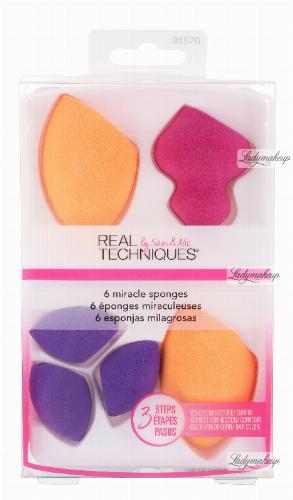 Real Techniques - 6 MIRACLE SPONGES - Zestaw 6 gąbek do aplikacji kosmetyków
