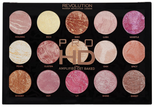 MAKEUP REVOLUTION - PRO HD - AMPLIFIED GET BAKED - Paleta 15 rozświetlaczy